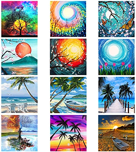 MOHARY 12 Pack 5d Diamond Painting Kits Diamond Paintings Kit Crafts Drill Acrylic Embroidery Cross Stitch for Home Wall Decor Sun Moon Scenery Beach (Canvas 12X12In)