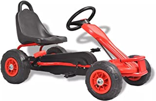 vidaXL Kart de pedales con neumáticos rojo