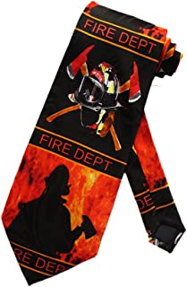 Steven Harris Firefighter Fire Department Helmet Necktie - Black - One Size Neck Tie