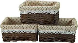 KINGWILLOW Wicker Storage Basket with Liner 3pcs Small Willow Rectangular Handmade Basket for Sundries neatening, (3pcs)