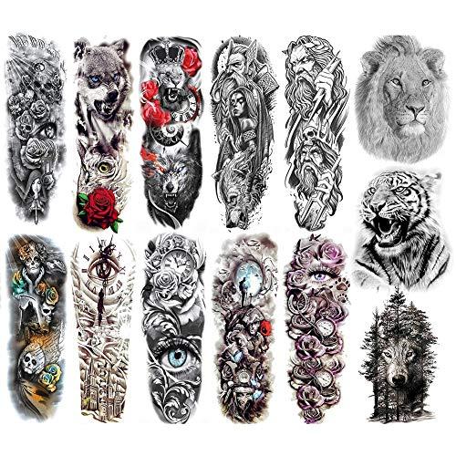 Auidy_6TXD 13 Blätter Full Arm Temporäre Tattoos, Temporär Tätowierung Klebe Tattoo Körperkunst Aufkleber für Männer Frauen