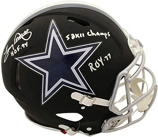 Tony Dorsett Autographed/Signed Dallas Cowboys Authentic Black Helmet 3 Insc BAS