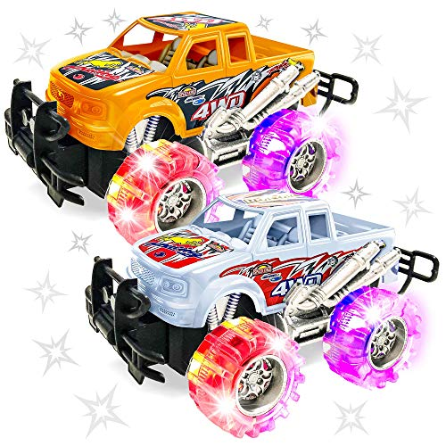 ArtCreativity Orange and White Light Up Monster Truck Set for Boys and Girls, Set Includes 2, 6 Inch Monster Trucks with Beautiful Flashing LED Tires, Push n Go Toy Cars, Best Gift for Kids Ages 3+