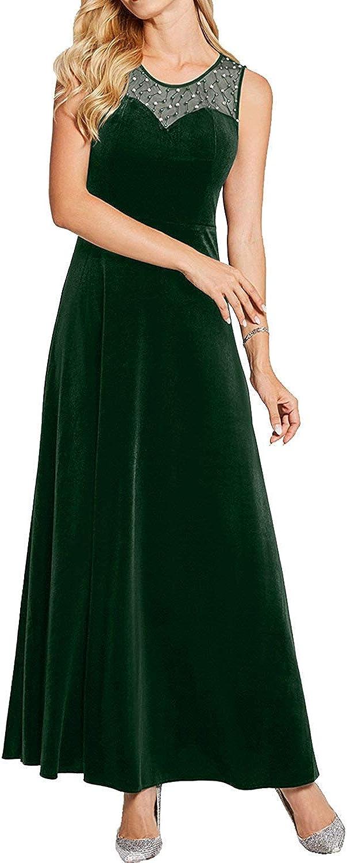 DressyMe Women's Classy Prom Party Dresses AnkleLength Velvet ALine RoundNeck