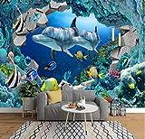 Fotomurales 3D Papel Pintado Murales Etiqueta Engomada Del Dormitorio De Los Niños Del Mural Del Delfín Del Acuario Del Paraíso De Los Niños Del Mundo Submarino Personalizado 350Cm×250Cm