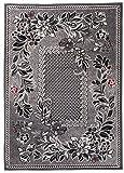 Carpeto Klassisch Teppich Grau 250 x 350 cm Blumen Muster Kurzflor Monaco Kollektion