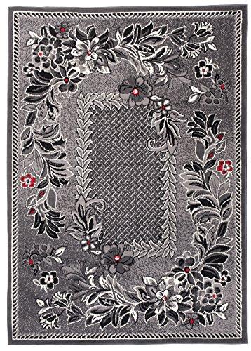 Carpeto Klassisch Teppich Grau 220 x 300 cm Blumen Muster Kurzflor Monaco Kollektion