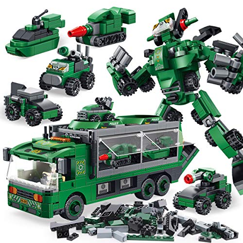 PANLOS STEM Robot Educational Learning Building Bricks Toy Carrier Truck Set Vehicles Gifts for Kids Boys and Girls Tight Fit and Compatible with All Major Brands (Green)