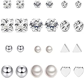 comprar comparacion Milacolato 12 pares de aretes de acero inoxidable con aretes para niñas redondas transparentes CZ Stud