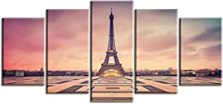 Paris Picture Canvas Prints for Bedroom, PIY Romantic Dusk Wall Art of France Eiffel Tower Painting, 1