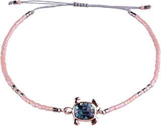 KELITCH Colorful Abalone Shell Turtle Strand Beaded Bracelet Handmade Seed Beads Friendship Bracelet Fashion Jewelry