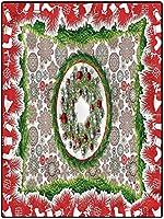 カーペット ホットカバー 厚手 フランネルラグ 120*160 クリスマスの家の装飾の敷物現代の屋内家の居間の床のカーペットのモミの花輪の装飾品 四季用 抗菌防臭 在宅
