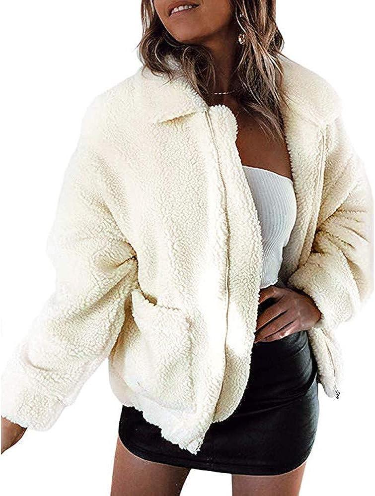 Clearance Forthery Womens Faux Fur Coat Winter Warm Thick Zipper Jacket Outwear