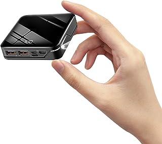 【10000mAh& LEDライト付き&PSE認証済 】 モバイルバッテリー 鏡面仕上げデザイン Lightning/Type-C/Micro USB 入力ポート 2USB出力ポート(2.4A) 最小最軽量 大容量 LCD残量表示 急速携帯充電器 スマホ iPhone/ipad/Android対応
