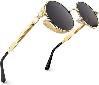 E72 Steampunk estilo retro inspirado círculo metálico redondo gafas de sol polarizadas para hombres