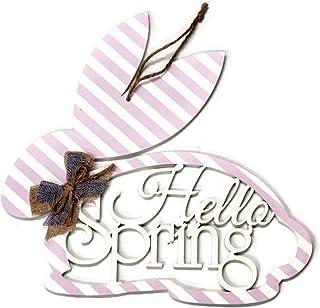 "12"" Wood Monogram Bunny: Hello Spring- Happy Easter Monogram Wood Door Hanger by Transpac"
