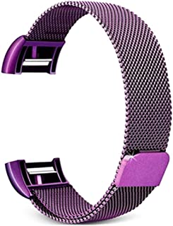 Consumer Electronics Smart Watch Stainless Steel Wrist Strap Watchband for Fitbit Charge 2(Black) (Color : Purple)