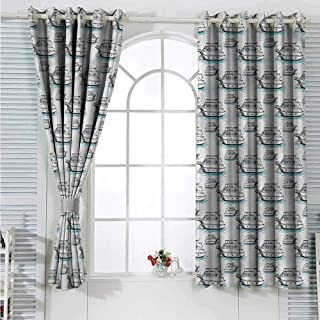 Living Room Curtain Sail Boat,Nautical Yachts Waves Blackout Curtain Bedroom W72 x L63 inches