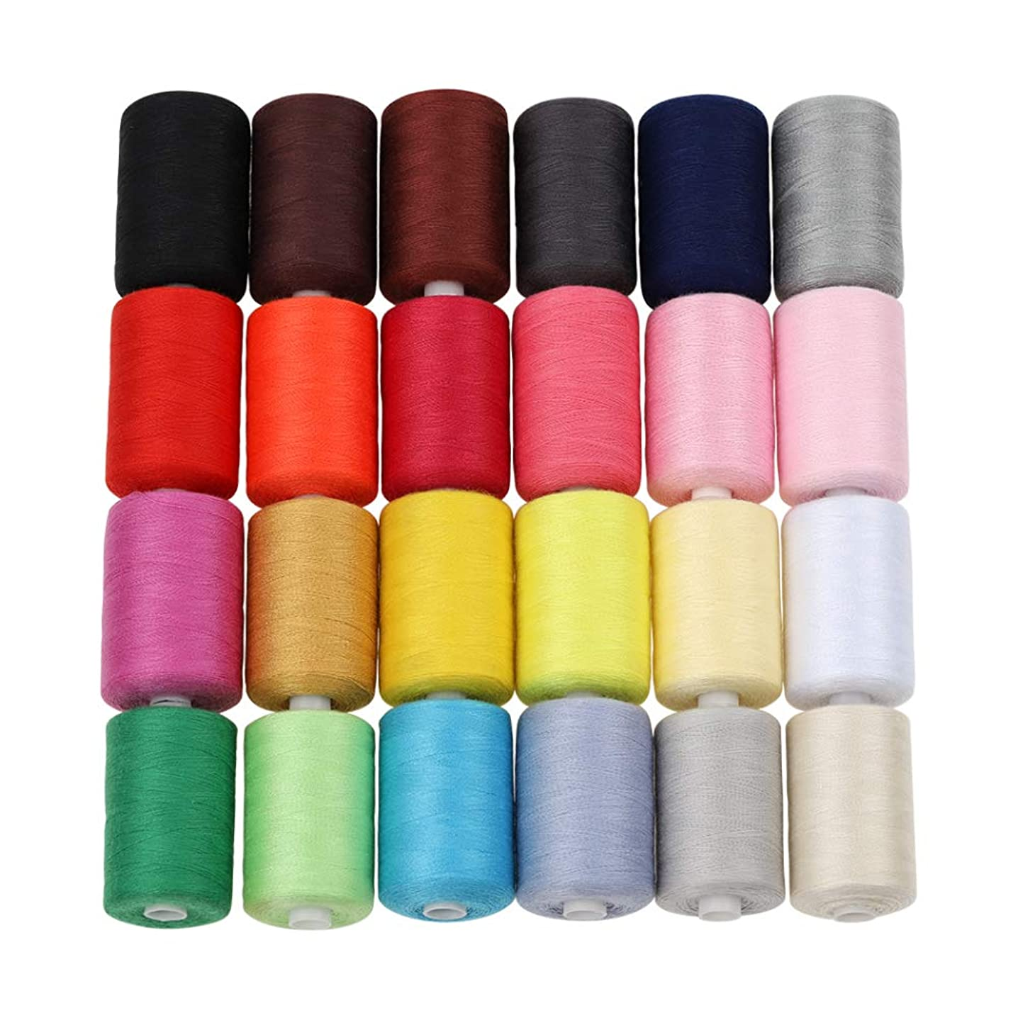 HAITRAL Sewing Thread - 24 Colors 1000 Yards Cotton Thread Sets Spools Thread for Sewing Machine (HT_SK04)