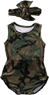 0-24M Infant Toddler Baby Boys Girls Romper Jumpsuit One-Pieces Camo Clothing Outfits Set with Headband