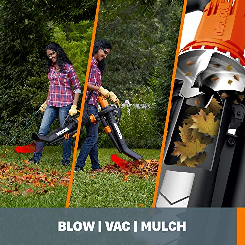 WORX WG509 TRIVAC 12 Amp 3-In-1 Electric Blower/Mulcher/Vacuum with Multi-Stage All Metal Mulching System, Black
