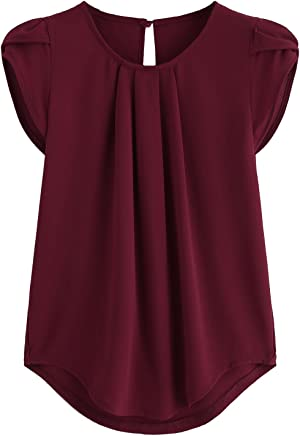 ec9b80ec5a3 Verochic Women s Casual Round Neck Basic Pleated Top Cap Sleeve Curved  Keyhole Back Blouse