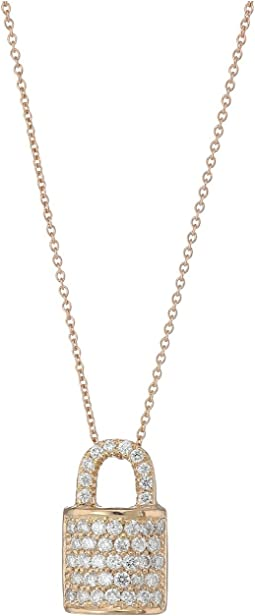 Roberto Coin - Tiny Treasures Lock Pendant Necklace with Diamonds