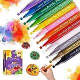 Colori Acrilici per Dipingere, 12 Pennarelli a Vernice Acrilica Pennarelli Indelebili Colorati e Impermeabili per Pittura su Rocce, Pietre, Ceramica, Vetro, Legno, Metallo, Artigianato Fai da Te