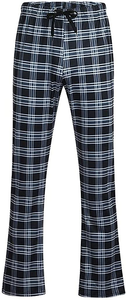 Men's Pants Casual Drawstring Elastic Waist Pants Plaid Printing Jogger Yoga Pants Long Pajamas Trouser