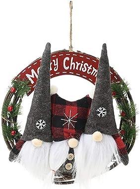 RENYD Gnome Christmas Wreath for Front Door Hanging Wreath, 11.8in Scandinavian Santa Elf Tomte Plush Hanging Garlands Orname