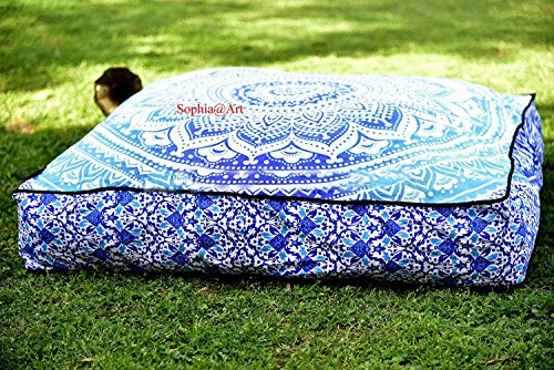 Sophia Art Indian Ombre Mandala Floor Pillow Square Ottoman Pouf Daybed Oversized Cushion Cover Cotton Seating Ottoman Poufs Dog/Pets Bed (blue1)