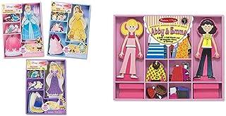 Melissa & Doug Disney Cinderella, Belle & Rapunzel Magnetic Dress Up Bundle & Abby & Emma Magnetic Dress-Up