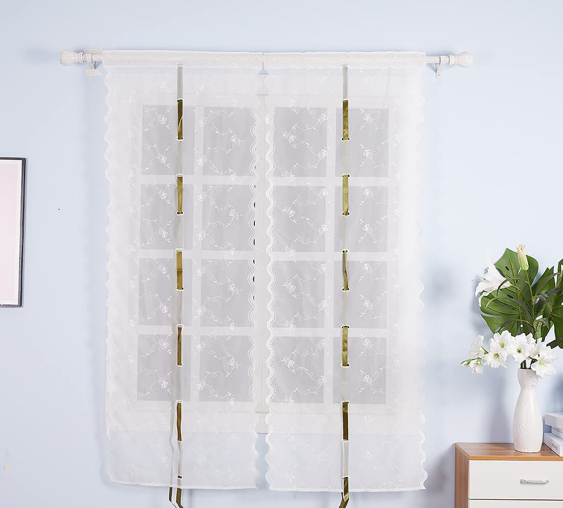 White Online limited product Sheer Balloon Curtains for Windows 25x66inch F Embroidery Mesa Mall