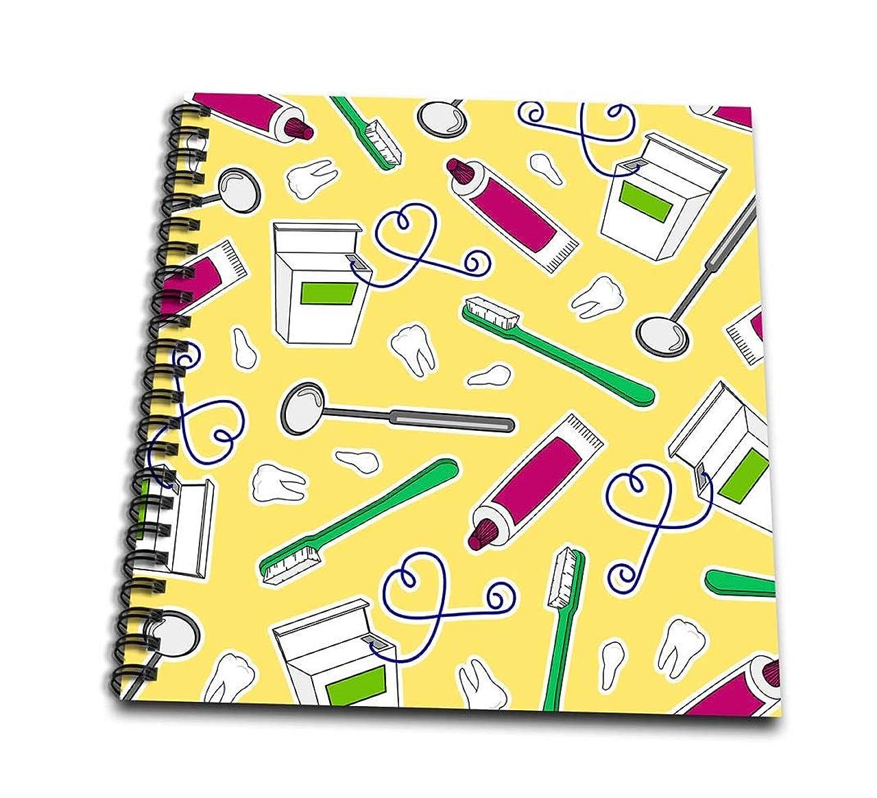 3dRose db_165821_3 Cute Dentist Dental Hygienist Print Yellow Mini Notepad, 4 by 4