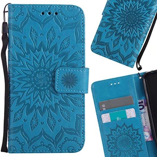 LEMORRY Handyhülle für ZTE Zmax Pro / Z981 Hülle Tasche Ledertasche Beutel Haut Schutz Magnetisch SchutzHülle Weich Silikon Cover Schale für ZTE Zmax Pro, Blossom (Blau)