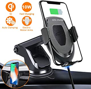 FITFIRST Wireless Car Charger Mount Samsung Galaxy S10 //S10+//S9 //S9+//S8 //S8+ Auto Clamping 7.5W //10W Fast Charging Qi Car Phone Holder Air Vent Dashboard Compatible iPhone Xs//Xs Max//XR//X// 8//8 Plus