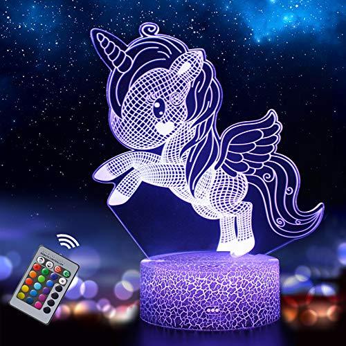 Unicornio 3D Luz Nocturna para Niños, LED USB Luces Nocturnas Ilusión Lámpara de mesa táctil Luces con Control Remoto para la Decoración del Partido Presentes de cumpleaño(unicornio3)