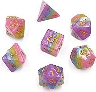 Polyhedral Dice Set DND Dice Stratified Multicolor Dice for Dungeons and Dragons Table Game (Pink Yellow Blue Purple)
