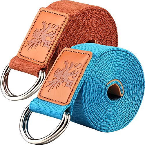 H&S 2 Yoga Straps 1.85 and 2.45m Yoga Belt Strap Extra Long Adjustable Strong...