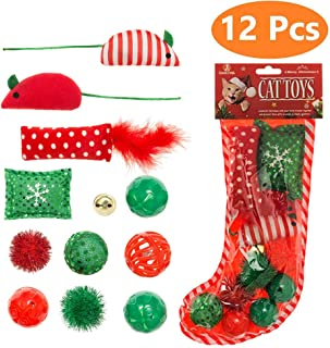 Christmas Cat Toys Stocking - 12 Pack, Colorful Crinkle Balls, Fluffy Mice, Pillow and Bell, Stored in as What the Pictures Show