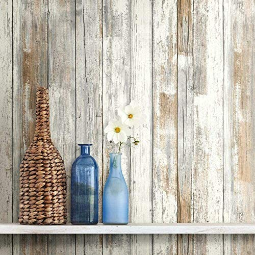 RoomMates RMK9050WP White Distressed Wood Peel and Stick Wallpaper