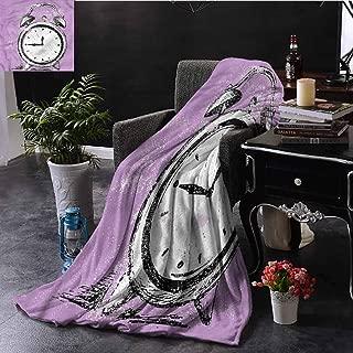 SSKJTC Doodle Orange Throw Blanket Retro Alarm Clock Grunge Dorm Bed Baby Cot Traveling Picnic W72 xL54