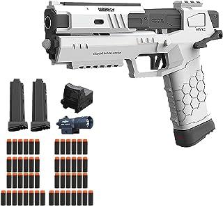 ハンドガン風おもちゃスポンジ弾ナイロン製、エアガン、ハンドガン風、おもちゃ銃、拳銃型、EVAソフト弾丸おもちゃ銃、手動エアガンシミュレーションおもちゃ、誕生日プレゼント正規品 27×28 cm,White-27×28 cm
