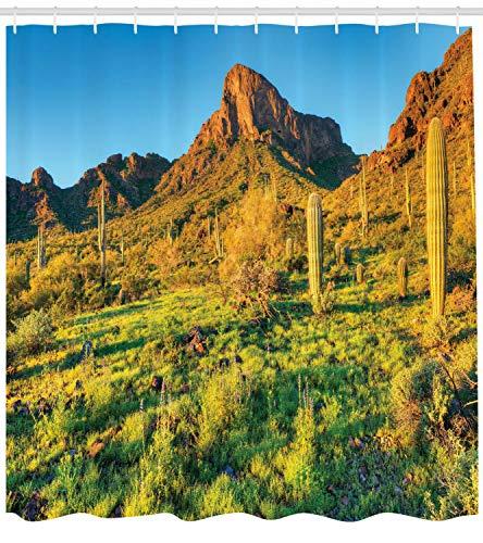 Grünblauer Duschvorhang Picacho Peak & Sonnendruck für Badezimmer