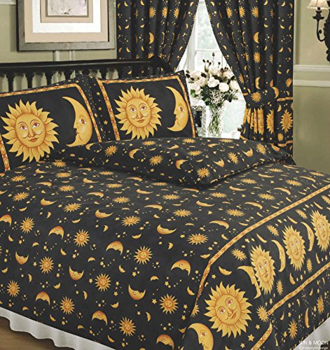 Double Bed Sun And Moon Black, Superior Quality 68 Pick Duvet / Quilt Cover Set, BY HICO, Sun Crescent Moon Stars Space, Black Speckle Yellow Gold by HICO