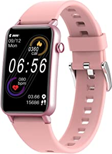 KUMI Smart Watch, Fitness Tracker with Heart Rate Monitor, SpO2 Level Measurement, Blood Oxygen Tracking, IP68 Waterproof,1.57 Inch Smartwatch Fitness Watch for Women Men for iPhone Android iOS