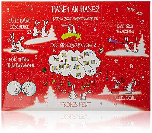 Accentra Adventskalender Bath & Body Hase1 an Hase2, Weihnachtskalender mit Kosmetik- & Wellness-Inhalt, perfekte Geschenkidee für Frauen & Mädchen