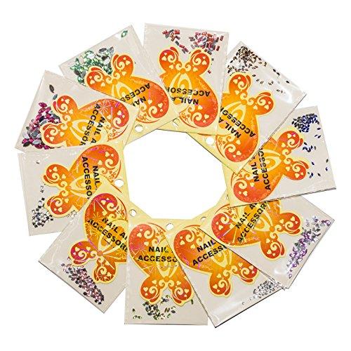 RM Beautynails 500 10 Sacs A Lot de 50 strass multicolore gemixt Plusieurs couleurs et de formes pour nail art et manucure design