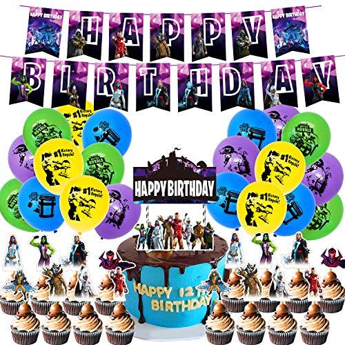 MIFIRE Video Gaming Spiel Partyzubehör Set, Geburtstagsfeier Party Gamer Zubehör mit Aufkleber ,Banner,Ballons für Spielliebhaber Jungen Geburtstagsfeier (Lila)