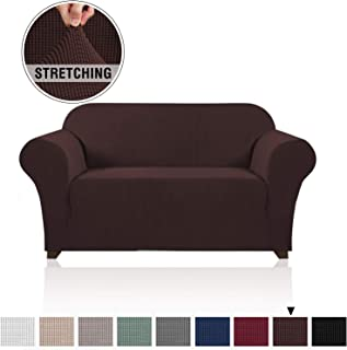 Stretch Sofa Slipcover 1 Piece Sofa Cover for 2 Cushion Couch Furniture Protector/Cover Couch with Elastic Bottom Soft and Durable Sofa Cover Pet Protector (Loveseat, Brown)